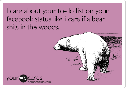 I care about your to-do list on your facebook status like i care if a bear shits in the woods.