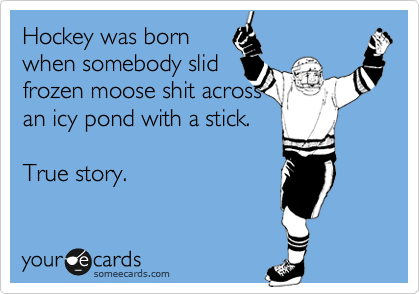 Hockey was born when somebody slid frozen moose shit across an icy pond with a stick.  True story.