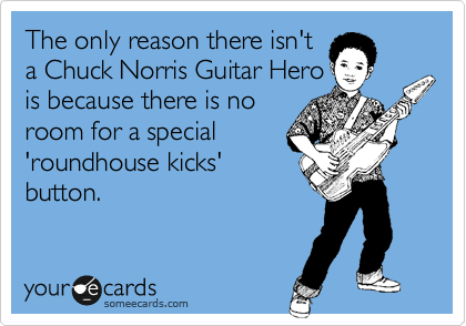 The only reason there isn't  a Chuck Norris Guitar Hero  is because there is no room for a special   'roundhouse kicks' button.
