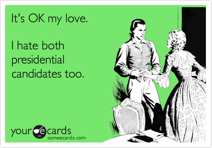 It's OK my love.   I hate both presidential  candidates too.