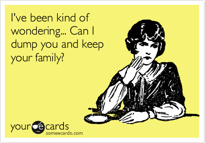 I've been kind of wondering... Can I dump you and keep your family?