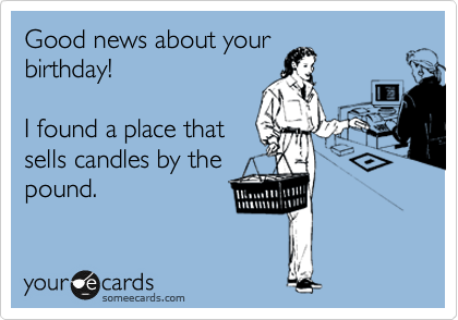 Good news about your birthday!    I found a place that sells candles by the pound.