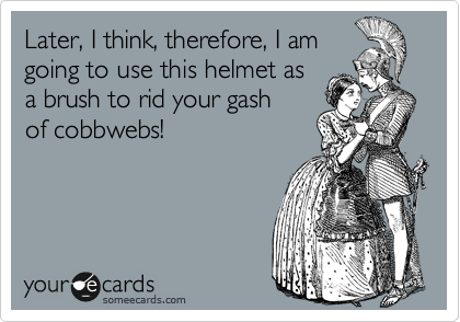 Later, I think, therefore, I am going to use this helmet as a brush to rid your gash of cobbwebs!
