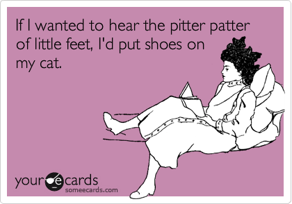 If I wanted to hear the pitter patter of little feet, I'd put shoes on my cat.