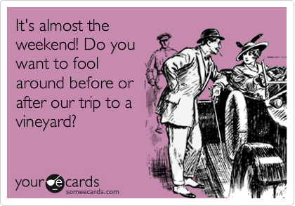 It's almost the weekend! Do you want to fool around before or after our trip to a vineyard?