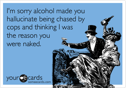 I'm sorry alcohol made you hallucinate being chased by cops and thinking I was the reason you were naked.