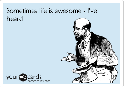 Sometimes life is awesome - I've heard