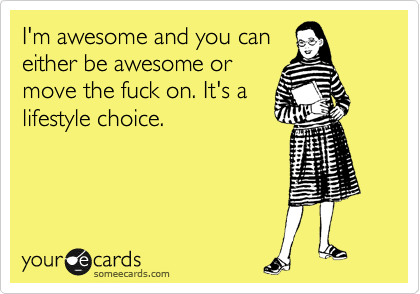 I'm awesome and you can either be awesome or move the fuck on. It's a lifestyle choice.