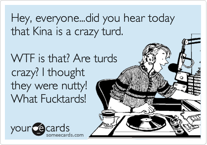 Hey, everyone...did you hear today that Kina is a crazy turd.   WTF is that? Are turds crazy? I thought they were nutty! What Fucktards!