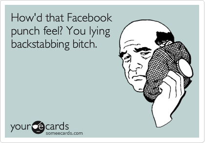 How'd that Facebook punch feel? You lying backstabbing bitch.
