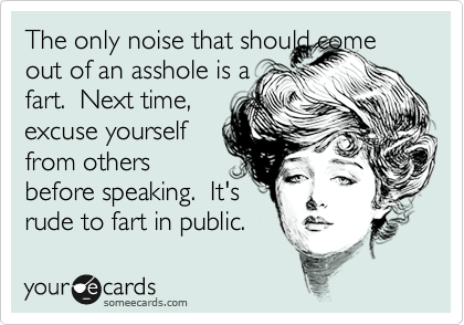 The only noise that should come out of an asshole is a fart.  Next time, excuse yourself from others  before speaking.  It's rude to fart in public.