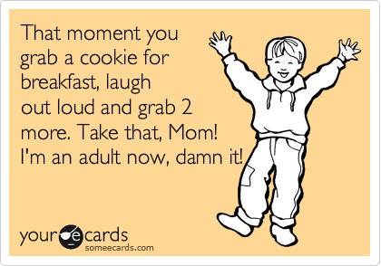That moment you grab a cookie for breakfast, laugh out loud and grab 2 more. Take that, Mom! I'm an adult now, damn it!
