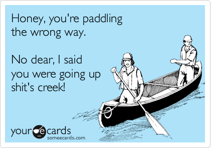 Honey, you're paddling the wrong way.  No dear, I said you were going up shit's creek!