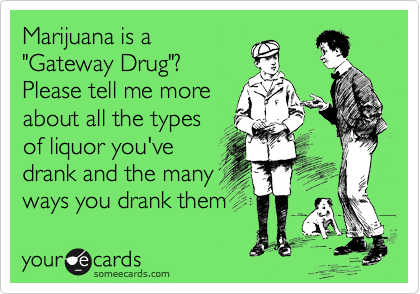 "Marijuana is a ""Gateway Drug""? Please tell me more about all the types of liquor you've drank and the many ways you drank them"
