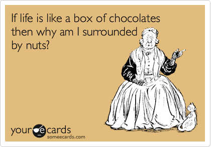 If life is like a box of chocolates then why am I surrounded by nuts?