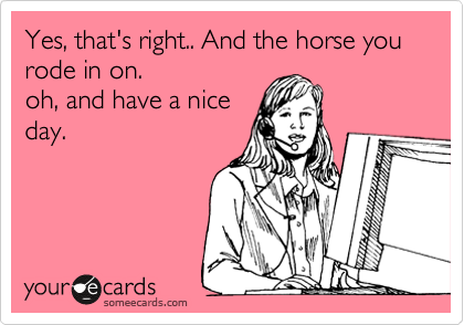 Yes, that's right.. And the horse you rode in on.  oh, and have a nice day.
