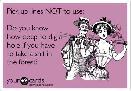 Pick up lines NOT to use:  Do you know how deep to dig a hole if you have to take a shit in the forest?