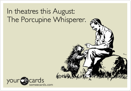 In theatres this August: The Porcupine Whisperer.