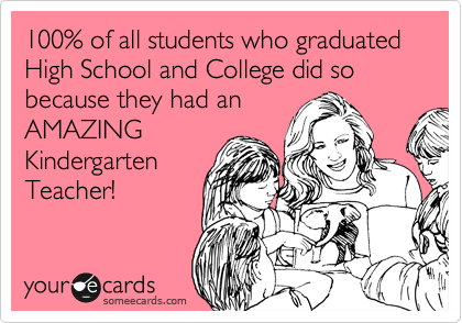 100% of all students who graduated High School and College did so because they had an  AMAZING  Kindergarten Teacher!