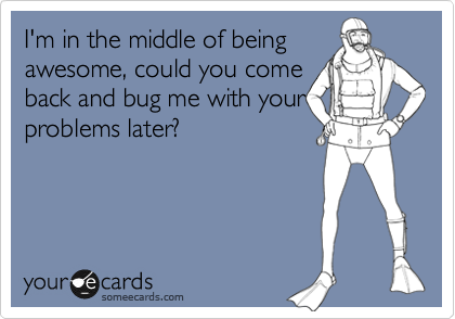 I'm in the middle of being awesome, could you come back and bug me with your problems later?