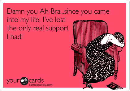 Damn you Ah-Bra...since you came into my life, I've lost the only real support I had!