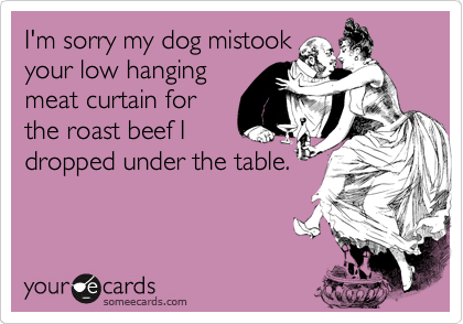I'm sorry my dog mistook your low hanging meat curtain for the roast beef I dropped under the table.
