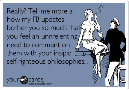 Really? Tell me more a how my FB updates bother you so much that you feel an unnrelenting  need to comment on them with your insipid self-righteous philosophies...