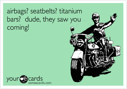 airbags? seatbelts? titanium bars?  dude, they saw you coming!