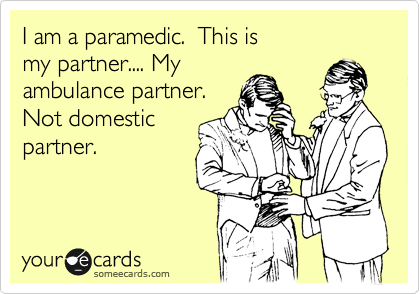 I am a paramedic.  This is my partner.... My ambulance partner. Not domestic partner.