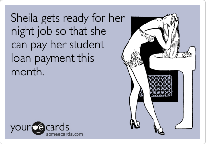 Sheila gets ready for her night job so that she can pay her student loan payment this month.