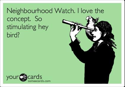 Neighbourhood Watch. I love the concept.  So stimulating hey bird?
