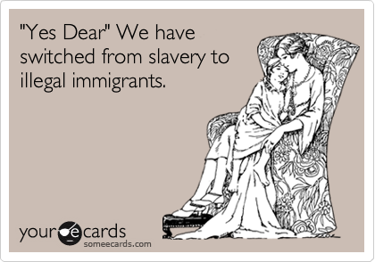 """Yes Dear"" We have switched from slavery to illegal immigrants."
