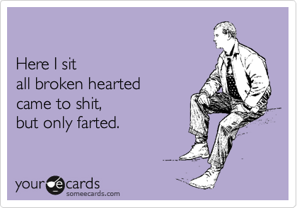 Here I sit  all broken hearted came to shit,  but only farted.