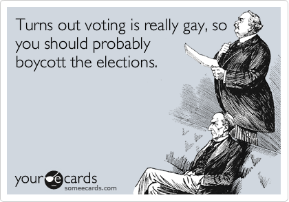 Turns out voting is really gay, so you should probably boycott the elections.