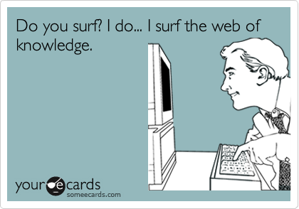 Do you surf? I do... I surf the web of knowledge.