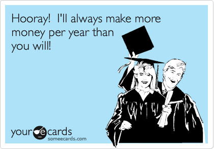 Hooray!  I'll always make more money per year than you will!