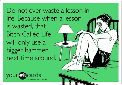 Do not ever waste a lesson in life. Because when a lesson is wasted, that Bitch Called Life will only use a bigger hammer next time around.