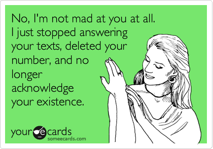 No, I'm not mad at you at all. I just stopped answering your texts, deleted your number, and no longer acknowledge your existence.
