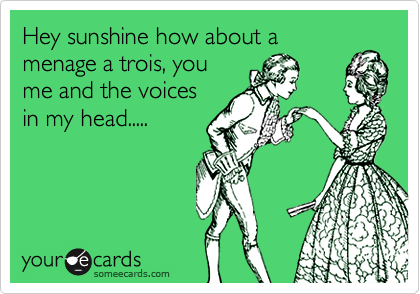 Hey sunshine how about a menage a trois, you me and the voices in my head.....