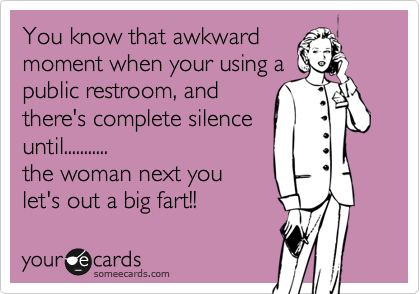 You know that awkward moment when your using a public restroom, and there's complete silence until........... the woman next you let's out a big fart!!