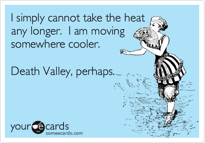 I simply cannot take the heat any longer.  I am moving somewhere cooler.  Death Valley, perhaps.