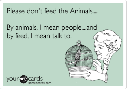 Please don't feed the Animals.....  By animals, I mean people....and by feed, I mean talk to.