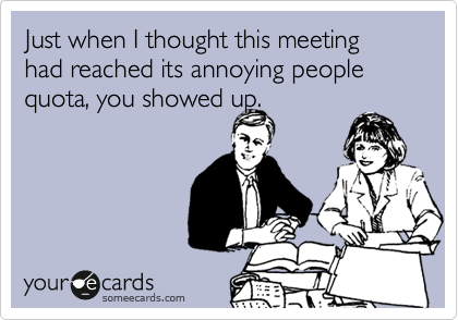 Just when I thought this meeting had reached its annoying people quota, you showed up.