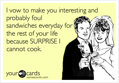 I vow to make you interesting and probably foul sandwiches everyday for  the rest of your life because SURPRISE I cannot cook.
