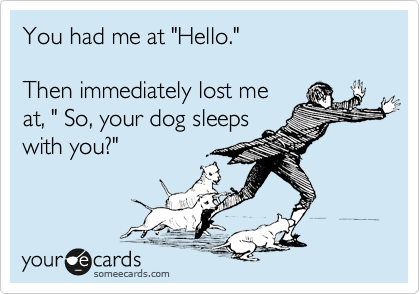 "You had me at ""Hello.""   Then immediately lost me at, "" So, your dog sleeps with you?"""