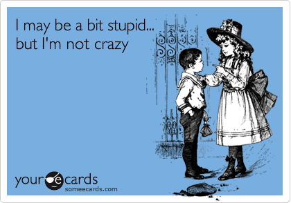 I may be a bit stupid... but I'm not crazy