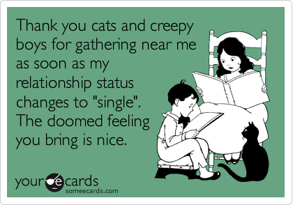 "Thank you cats and creepy boys for gathering near me as soon as my relationship status changes to ""single"". The doomed feeling you bring is nice."
