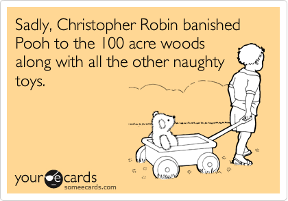 Sadly, Christopher Robin banished Pooh to the 100 acre woods along with all the other naughty  toys.