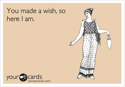 You made a wish, so here I am.
