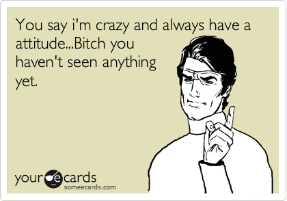 You say i'm crazy and always have a attitude...Bitch you haven't seen anything yet.